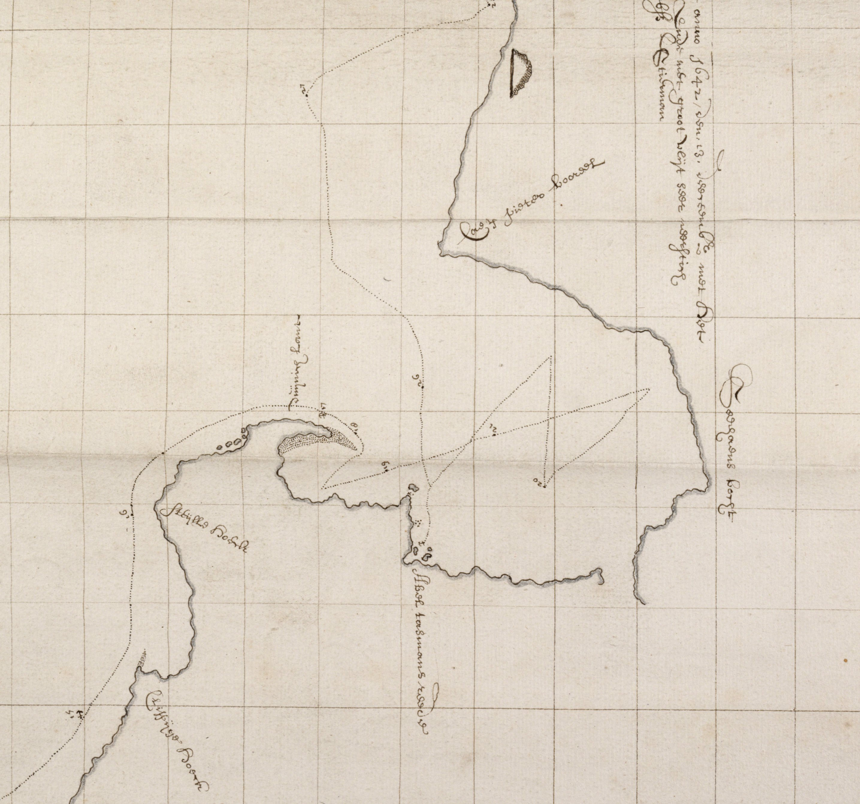 Part of a map attributed to Visscher which shows a gap where it was thought au undiscovered passage might exist