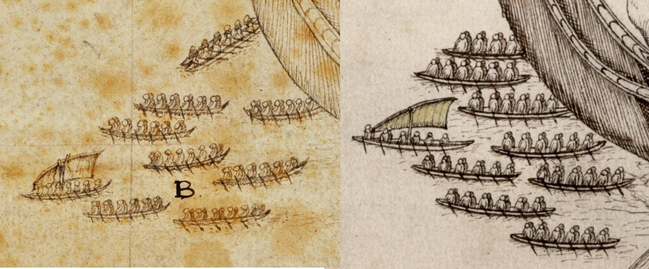 Two 1642 illustrations of the waka seen in Golden Bay